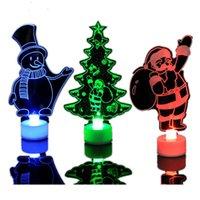 acryl beleuchtete schneemann großhandel-Bunter Acrylkleiner Weihnachtsbaum-Weihnachtsschneemann Santa Night Light Gift Christmas Decoration
