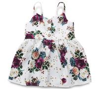 3t ropa al por mayor-Chica con estampado floral Fly Suspender Falda Bebé Infantil Vestido Ropa para niños Ropa de una pieza ZHT 159