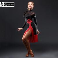 zebra kleid frauen großhandel-2019 hcdance neue marke 1 farbe latin dance dress frauen schwarz s-xxl ballsaal tango rumba chacha dance kleider heißer verkauf a3130