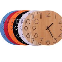ingrosso disegni decorativi classici murali-Circolare orologio da parete muto legnoso colorato digitale camera da letto soggiorno ufficio creativo decorare moda semplici orologi da parete pratici 22dyD1