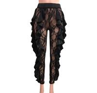 frauen s sommer enge hosen großhandel-Frauen Hosen lange 2019 Sommer Perspektive schwarz Designer dünne Hosen für Damenbekleidung eng anliegende Hosen Sexy Lace Capris S-XL