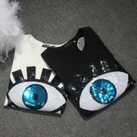 Wholesale eyelash sizes resale online - Harajuku Sequin Tshirt Women Fashion Design Short Sleeve Eyelash Cotton T shirt Female Summer Tops Plus Size S xl xl