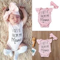 conseguir ropa al por mayor-OBTÉNLO DE MI MAMA Letra Newborn Baby Girls Floral Romper Jumpsuit Diadema Trajes Conjunto de ropa