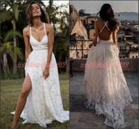 Wholesale cross ball caps resale online - Sexy Spring Lace Garden White Wedding Dresses High Split Beach Cross Straps Back African robe de mariée Bride Dress Ball Bridal Gowns