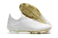 zapatos de exterior messi al por mayor-ADIDAS 2019 Gold Messi Botas de fútbol originales sin cordón X 18+ FG Hombres Zapatos de fútbol Pogba Plating soles Al aire libre Mejor Qaulity Soccer Cleats 40-45