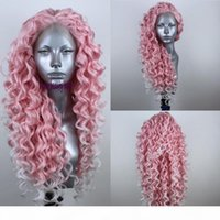 Wholesale synthetic white curly long wig for sale - Group buy Fashion Natural Long Kinky Curly pink Ombre Platinum Blonde brazilian wig Free Part Synthetic Lace Front Wig For white Women