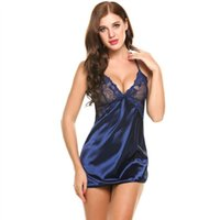 62ce2d374eb9 Wholesale satin slip sleepwear online - Sexy Nightgown Lingerie Fashion  Patchwork Nightdress Women Sheer Scalloped Satin Find Similar
