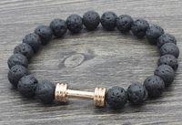 pulseiras de ouro buda venda por atacado-8mm de ouro prata Dumbbell b34534 Reiki Buda bh4345 Yoga fio elástico ajustado preto lava vulcânica Pedra talão Pulseira pulseiras