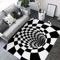 mavi yatak odası halısı toptan satış-3D Halı Lüks Geometri Optik Illusion Alan Kilim Banyo Oturma Odası Zemin Kaymaz Mat Yatak Odası Başucu Halı Dekor