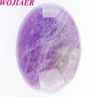 Wholesale amethyst oval stone resale online - WOJIAER Natural Amethyst Gem Stone Beads Oval Cabochon CAB No Hole x30x7MM For Making Jewelry DU8092
