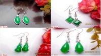 jade asiático venda por atacado-4 estilo por atacado Par / 2PCS Asian Natural Green Jade Dangle Brincos