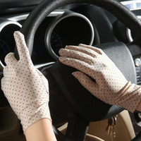 Wholesale fingerless sun protection gloves resale online - Fashion Summer Drive Women Sun Protection Wrist Gloves Mittens Dot Elastic Lady Girl Women s Gloves Drop Shipping