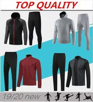 conjunto de zíper venda por atacado-2019 2020 Adulto jaqueta de futebol treino 19 20 survêtement manga longa chandal jaquetas de futebol zíper completo conjunto