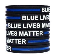 esnek bilezikler toptan satış-Mavi Hayatlar Matter Silikon Bileklik Bilezik Yumuşak Esnek No Cinsiyet Bileklik Dekorasyon Bilezikler Parti 600pcs OOA6769-22 Favor
