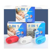 hava cihazları toptan satış-Mini 2 1 Anti Horlama Hava Temizleyici Burun Tıkanıklığı Rahatlatmak Horlama Cihazları Havalandırma Anti-horlama Burun Klipsi