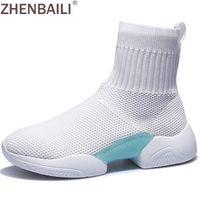 weiße strickstiefel großhandel-ZHENBAILI Frühling Schwarz Weiß Fly Knit Frauen Stiefeletten 2019 Atmungsaktive Weiche Stretch Socke Schuhe Casual High Top Sneakers Walking