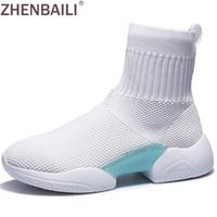 botines blancos de punto al por mayor-ZHENBAILI Primavera Negro Blanco Fly Knit Mujer Botines 2019 Transpirable Suave Estiramiento Calcetín Zapatos Casual High Top Zapatillas Caminar