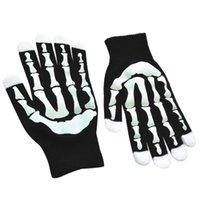 перчаточная перчатка оптовых-Unisex Adult Winter Knitted Cycling Full Fingered Gloves Halloween Ghost Skeleton Hand Claw Contrast Color Mittens Anti-Skid Ela