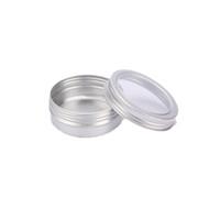ingrosso stagno crema d'argento-Vaso di alluminio crema 60ml con finestra visibile Vaso di argento coperchio di vite Nail art trucco lucidalabbra Contenitori di metallo cosmetici vuoti
