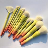 conjuntos de maquiagem profissional venda por atacado-Pro Gradient Color 14 pcs Pincéis de maquiagem Conjunto Cosméticos macios Blending Foundation Eyeshadow Blush Brush Kit Make Up Tools