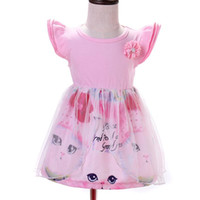 Wholesale tu clothing online - Baby Girls Cat Printing Tulle Dress Princess Party Tu Tu Dress Pink Color Summer Kids Fashion Clothes