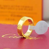 ringe großhandel-Titancartier Stahlhochzeits-Marken-Designer-Liebhaber-Ring für Frauen Luxus CZ Zirkonia Rotgold Schmuck Männer Verlobungsringe