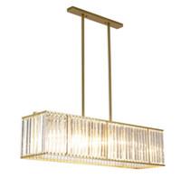 rectángulo led luz colgante al por mayor-Araña de cristal moderna de lujo Comedor Colgante Oro LED Cristal Luz Rectángulo Cocina Isla Cristal Iluminación LLFA