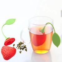 coladores de fresa al por mayor-Infusor de té de fresa de silicona Diseño lindo de fruta Colador de té Hojas sueltas Herbal Filter Tools Colador Bolsa de té