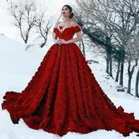 vestidos de noiva vermelhos exclusivos venda por atacado-Lindo Vermelho Escuro 3D Flores Plissadas vestido de Baile Vestidos de Noiva para Festa Custom Made Vestidos De Noiva Única Festa Maxi Vestidos