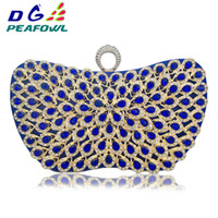Wholesale elegant clutches for sale - Group buy New Design Metallic Blue Diamonds Beaded Flower handbags Girls Elegant Wedding Purses Evening Bags Ladies Day Clutches Party Bag