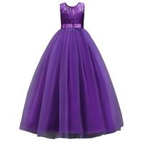 niños vestidos de bola púrpura al por mayor-En 2020 de la púrpura blanca de encaje princesa muchachas de flor Vestidos 2019 Apliques de los niños la fiesta de cumpleaños de la bola del vestido de los niños del vestido de malla