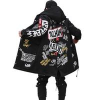 chaqueta larga acolchada hombre al por mayor-2017 chaqueta de New Parkas los hombres del invierno impresión de la pintada con capucha Calle algodón Wadded Coats Hip Hop largo de abrigo acolchado grueso