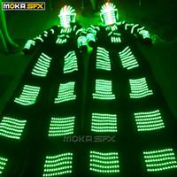 traje de traje de robô venda por atacado-Robot LED ternos traje robô luminoso LED colorido dançarino roupas palafitas walker para o desempenho da festa clubes de festival de música DJ desgaste