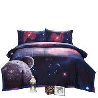 erkek yorgan takımları toptan satış-Mavi 3 Parça Yorgan Seti Galaxy Yatak Seti 2 Eşleşen Yastık ile Tam Boy