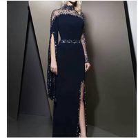 Wholesale collar neck t shirts for sale - Group buy 2019 Formal High Neck Navy Blue Evening Dresses kaftan dubai Beaded Long sleeve Party gowns Modest robe de soiree Split Prom Dress