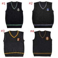 Wholesale harry potter women costume online - Harry Potter Sweater V neck Vest Magic School Waistcoat Slytherin Gryffindor Ravenclaw Cosplay Costume Clothes Men Women Uniform Sweater DHL