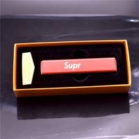 Wholesale Metal Lighter USB Rechargeable Windproof Electronic Lighter Set with USB Charging Cable and box with SUPR EME brand logo fashion gift