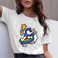 zauberer kleidung großhandel-2019 Harajuku T-Shirts Kawaii Magier Cartoon-Muster-Druck-weibliches T-Shirt Kleidung Schmutz-ästhetisches kurzes Hülsen-T-Shirt Femme