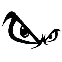art mural noir vert achat en gros de-20pcs / lot gros autocollant de voiture de bande dessinée pas de crainte yeux fenêtre de la voiture voiture corps r ordinateur portable art mur vinyle autocollant noir / argent 17 * 10.5 cm