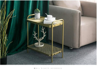 Wholesale gold coffee table for sale - Group buy Nordic gold tea table modern simple small family simple living room corner sofa side cabinet iron bedside table