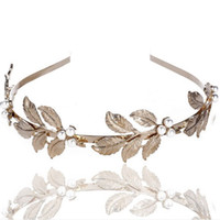 tiara de metal de ouro venda por atacado-Moda Folha De Metal Estrela de Cinco pontas-Pérola Headband para As Mulheres de Casamento Nupcial Acessórios Para o Cabelo Tiara Elegante Jóia De Prata De Ouro