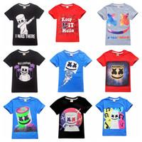 diseño de dibujos animados camiseta niños al por mayor-39 diseños Marshmellow DJ Music Print marshmello cartoon T shirt niños niñas camiseta de ropa Juego de juguete para niños