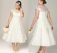 ingrosso vestito di lunghezza del tè del corsetto di illusione-Abiti da sposa da sposa su misura Country Made in Italy