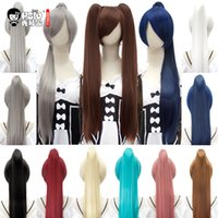 парик для косплей парик оптовых-HSIU 80Cm Long Staight Ponytail Clip Cosplay Wig high temperature fiber Synthetic Wigs Anime Party Ponytail Party wigs 14 color
