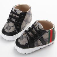 bebek pamuklu kumaş toptan satış-Bebek öğrenme yürüyüş ayakkabıları Bebek ilk yürüyüşe çizmeler Toddlers yumuşak taban pamuklu kumaş sneakers