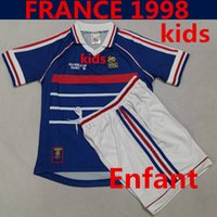 französische kinderkleidung groihandel-WM 1998 Kid Kit Frankreich Fußball-Jersey-Startseite Blau 98 Französisch Kind-Jugend-Fußball Uniform Kleidung Enfant Maillot de Fuß Française ZIDANE