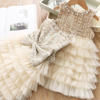 Wholesale girl pearl collar princess dress resale online - Vieeoease Girls Dress Tulle Cake Kids Clothing Autumn Sleeveless Pearl Collar Bow Girls Princess Dress CC