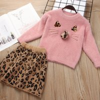 Wholesale girls christmas sweaters for sale - Group buy Kids Girls Spring Clothing Sets Otter Leopard Skirt Sweater set Outfits Sweater Skirt Set Kids Girls Clothes Girl Outfits Sets M1302