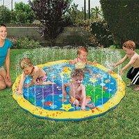 almohadillas para niños pequeños al por mayor-39 pulgadas inflable Al aire libre Sprinkler Pad PVC Splash Play Mat Pad juguete perfecto para bebés niños pequeños niños piscina juguetes MMA1938