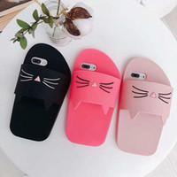 lindas zapatillas de gato al por mayor-3D Cute Cartoon Cat Slippers Funda de silicona suave Lovely kitty Slipper Rubber Phone Cover para iPhone 6 7 8 X XR XS MAX